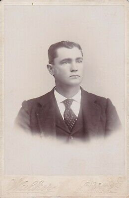 Cabinet Card Id Wave Dark Hair,Heavy Suit And Polk Dot Tie,Of Stockton, Ca 1897