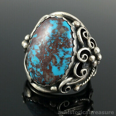 Large Native American Navajo Handmade Sterling Silver High Grade Turquoise Ring