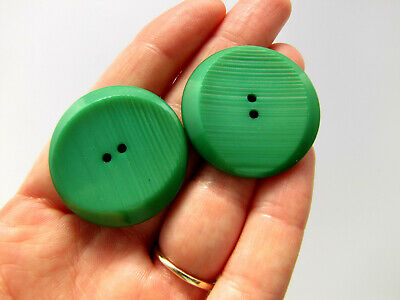 LARGE Vintage Retro BAKELITE Green Carved Sewing Button Matching Lot of 2