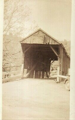 Vintage Old 1920's Photo of a Covered Bridge Route 18 Burgettstown Pennsylvania