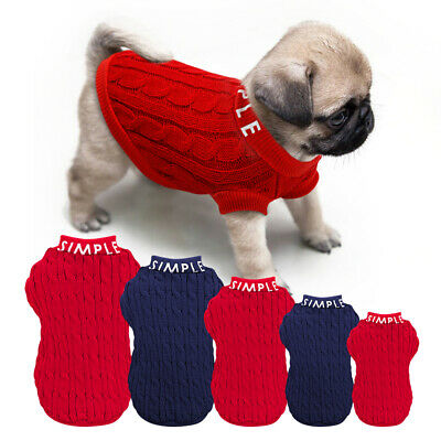 Small Dog Sweater Puppy Knit Clothes Xmas Jumper Coat Pet Knitwear Apparel Blue