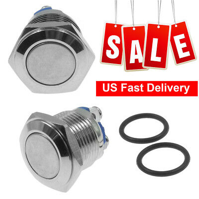 2 lot 12V LED 16mm Momentary Waterproof Flat Push Car Horn Button Light Switch