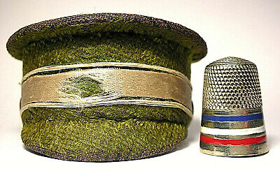 Rare Unmarked Sterling & Enamel Thimble w/ WW1 Officers Hat Thimble Holder