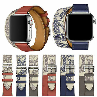 For Apple Watch Band 40mm 44mm Leather Single Tour Bracelet Strap Series 5 4 3 2