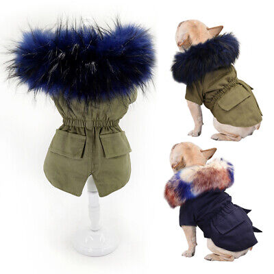 Warm Dog Coat for Small Dogs Hoodie Jacket Fur Collar Winter Pet Clothes Apparel