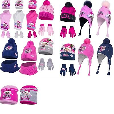Girls LOL Surprise Dolls knitted hat with gloves scarf set 2-8 years