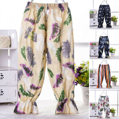 Baby Kids Boys Girls Floral Pattern Harem Pants Toddler Bottom Trousers Leggings