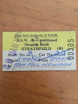 NSW Railway Ticket - 1986 Reserved Seat