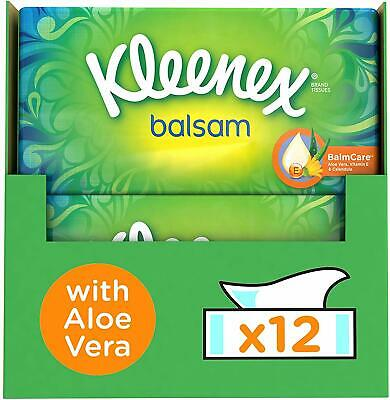 Kleenex Facial Tissues 12 Pack Tissue Boxes Protective Balm Cold Flu Symptoms