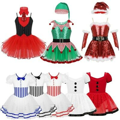 Girls Christmas Santa Dance Costume Fancy Party Outfit Sequins Skating Dress