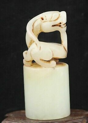 Chinese old natural hetian jade hand-carved statue dragon seal 2.6 inch
