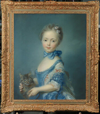 Hand-painted Old Master-Art Oil painting Portrait Small girl cat on Canvas 20X24