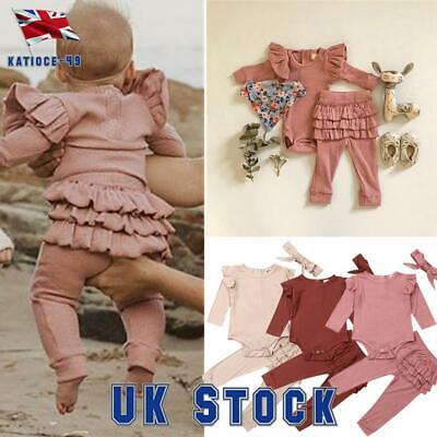 Baby Girls Romper Bodysuit Jumpsuit Tops Frill Pants Headband 3Pcs Sets Outfits