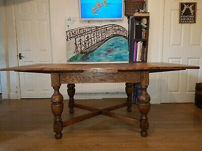 Dining table Solid Oak extending antique drawleaf dinning drawer leaf farmhouse