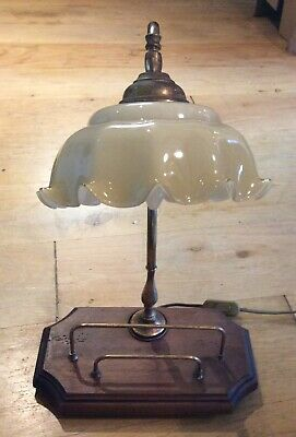 Antique Brass and wood Desk / Table Lamp
