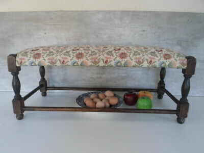 WILLIAM MORRIS STYLE pretty antique long upholstered  footstool