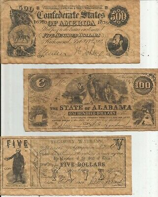 CONFEDERATE bank notes (5) FAKE vintage 70's VG OOP collectible PLAY MONEY