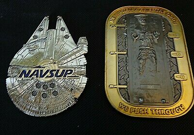 Two Star Wars US Navy Challenge Coins, Han Solo Frozen and Millenium Falcon