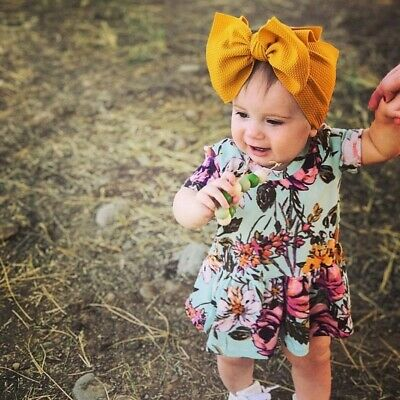 Handmade Infant Baby Girls Mustard Bow Headband Toddler Knot Hair Band Head Wrap