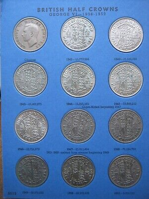 Half-Crown 29 Coin incl 6 Silver Collection Set 1941~1967 to Date Whitman folder