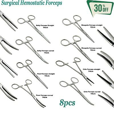 Set Of 8 Surgical Hemostatic Tissue Clamp Forceps Kit