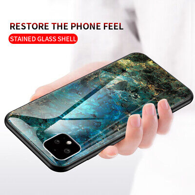 For Google Pixel 4/4 XL 3A XL Luxury Marble Tempered Glass Hard Back Case Cover