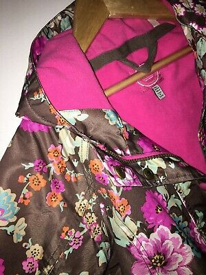 Joules Brown Floral Fleece Lined Jacket coat 6 years Hooded Lovely Condition