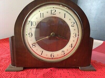 Vintage Stanton Barrel Style Oak Cased Mechanical Mantel Clock