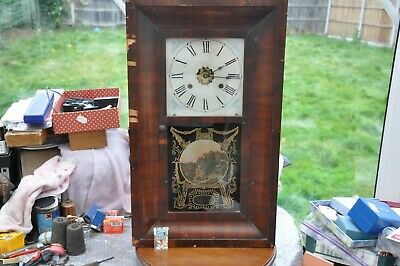 Large Antique Jerome & Co. 30 Day (Fusee) Weight Driven Wall Clock.