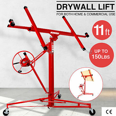 11' Drywall Rolling Lifter Panel Hoist Jack Caster Construction Lockable Tool