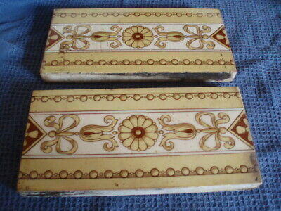 2X Good Antique Late 19Th C/20Th C Minton's China Works Tiles-Rosette+Bead Deco