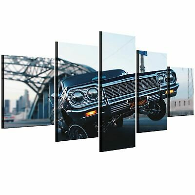 Los Angeles luxury car in street 5 Pc Canvas Wall Art Picture Poster Home Decor