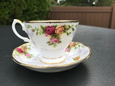 🌹 Rare Royal Albert Rose Cameo Violet Purple Old Country Roses Tea Cup & Saucer