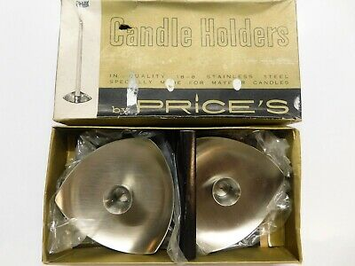 Modernist Price's 18-8 Stainless Steel Candle Holders For Mayfair Candles, Boxed