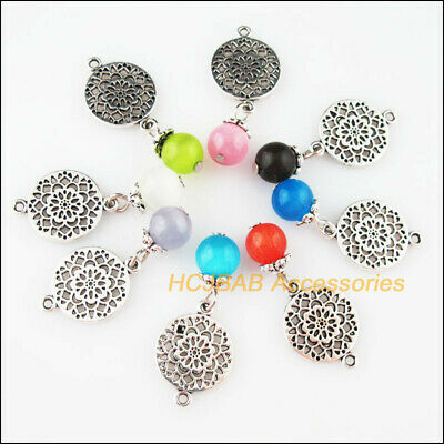 8 New Round Flower Charm Tibetan Silver Tone Mixed Cat Eye Stone Pendant 14x20mm
