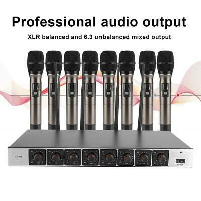 8X UHF VHF Wireless Microphone System Handheld Lavalier Lapel Mic Receiver Stage