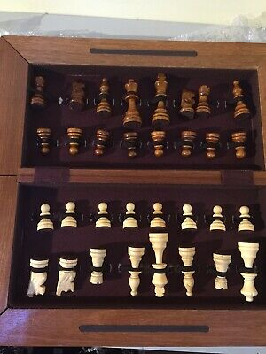 """Chess Set BOARD & PIECES Folding Wooden Board (Box) Large Pieces King 3"""""""