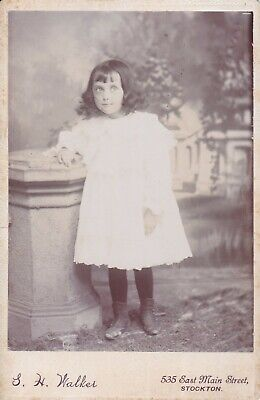 Cabinet Card Stereo-Photographer Stockton Girl Curly Long Hair,Bangs,White Dress