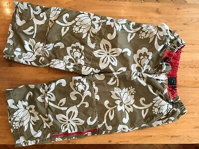 mini boden 14 yrs batterned lang shorts cropped trousers boys khaki green flower