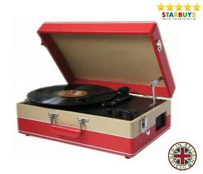 Briefcase Record Player Suitcase Vinyl 3 Speed Turntable Speakers & USB Transfer