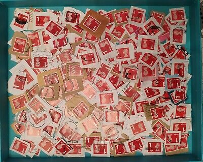 200 1St Class Large Letter Red Security Used Stamps On Paper.  Good Condition.