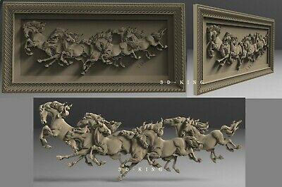 3D STL Model # HORSES IN MOTION # for CNC Aspire Carving 3D Printer Engraving
