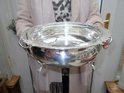Large Antique Silver Plated 2 Handled Bowl Elegant Pad Feet