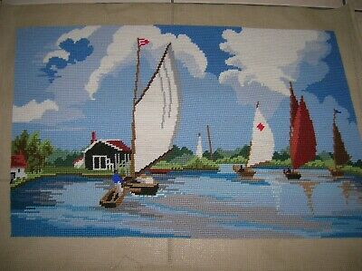Large completed Tapestry Sailing boats never framed beautifully sewn lovely con