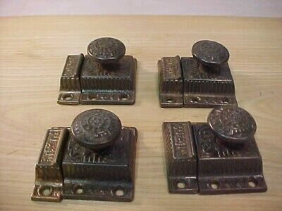 4 Antique  Eastlake Victorian  Cast Iron Cabinet  Latches with receivers