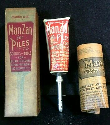 Antique Medicine: Manzan For Piles Salve , Contents Tube, Ornate Litho W/ Nozzle