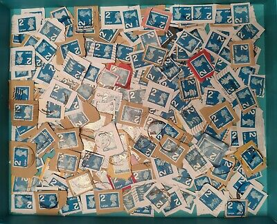 200 2Nd Class Large Letter Blue Security Used Stamps On Paper.  Good Condition.