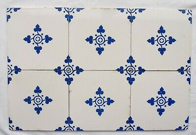 Set of 6 Original antique Minton Hollins Tiles blue and white