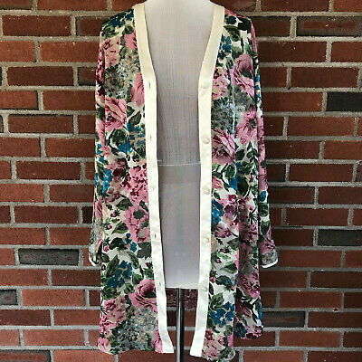 VTG Victorias Secret Gold Label VS Floral Robe Sleepshirt Embroidered Kimono S