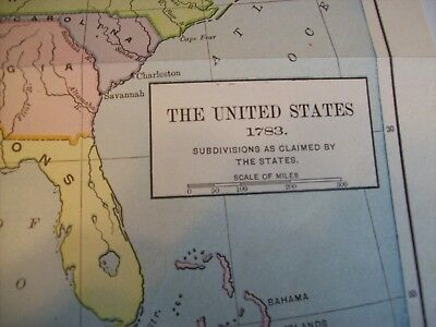 Antique 1783 United States Epoch Map by Hart Written 1909 Subdivisions by States